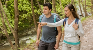 Happy Hiking Couple Exploring Forest Travel Footage Backpackers Nature Enjoying Adventure Tourist Trekking Vacation Man Woman Beauty