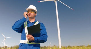 Supervisor Talking Walkie-Talkie Working Agriculture Windmill Communication Protective Uniform Windpower Development Renewable Energy Sustainability Engineering