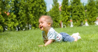 Cute Baby Boy Crawling Park Infant Toddler Footage Relaxing Grass Tree Sunny Green Adorable Innocent