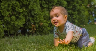 Cheerful Baby Boy Crawling Park Cute Happy Infant Toddler Enjoying Footage Playing Green Adorable Innocent