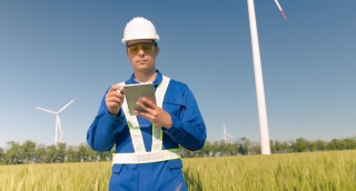 Architect Using Digital Tablet Agriculture Windmill Technology Supervisor Protective Uniform Renewable Energy Windpower Sustainability Engineering Development