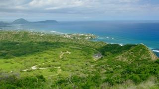 Aerial Drone Footage Green Landscape Sea Nature Scenic Travel Tourism Horizon Water Beautiful Scenery Sky Coastline Idyllic Vacation Island Hawaii Tranquil