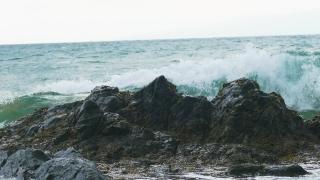 Drone Footage Sea Wave Motion Crashing Rocks Horizon Water Beach Nature Power Travel Hawaii Nature Tourism Eroded Summer Coast Sky