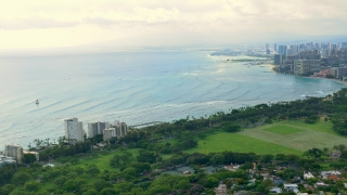 Drone Footage Buildings Sea Aerial Coastline Travel Vacation Hawaii Tourism Honolulu Beach Waikiki Island Architecture Downtown