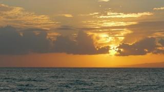 Beautiful Seascape Sunset Nature Scenery Idyllic Horizon Sky Clouds Weather Beach Travel Vacation Water Island Footage Hawaii Tranquility