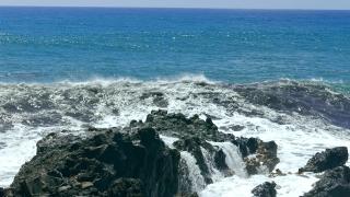 Footage Sea Wave Motion Crashing Rocks Horizon Water Beach Nature Power Travel Hawaii Nature Tourism Eroded Coast Surf