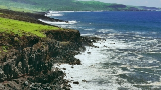 Rocky Coast Blue Sea Idyllic Beach Island Nature Beautiful Footage Water Vacation Wave Surf Travel Tourism Hawaii Cliff