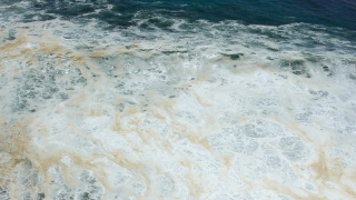 Drone Footage Sea Wave Breaking Foam Water Beach Crashing Nature Aerial Hawaii Surf Tourism Storm Power Nature Travel