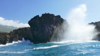Waves Splashing Cliff Sky Sea Nature Mountain Powerful Travel Tourism Vacation Footage Breaking Water Storm Crashing Hawaii Rock
