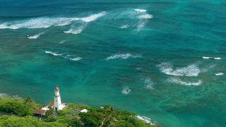 Aerial Drone Footage Sea Lighthouse Tower Turquoise Nature Beach Water Coast Travel Island Vacation Beauty Tourism Wave