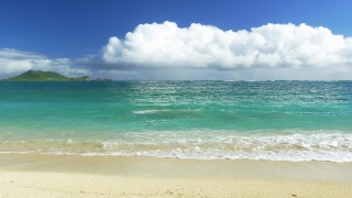 Idyllic Island Beach Shore Sky Nature Beautiful Footage Sea Water Vacation Travel Tourism Hawaii Peaceful  HD