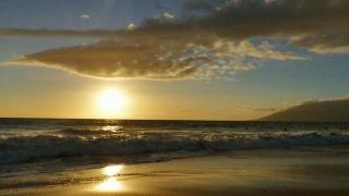 Idyllic Beach Sunset Island Sea Sky Golden Beautiful Sunlight Nature Footage Water Peaceful Vacation Travel Hawaii Tourism Shore Horizon