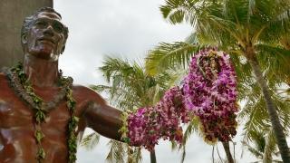 Footage Duke Kahanamoku Statue Hawaii Lei Garland Travel Tourism Famous Honolulu Landmark Beach Island Waikiki Aloha USA