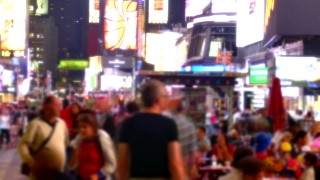 People City Street Times Square Blurred Motion Crowd Manhattan New York USA Tourism Pedestrians Famous Tourists Footage Illuminated