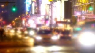 New York City Street Traffic Illuminated Manhattan Night USA Footage Crowded Transportation Connection Taxi Road Buildings