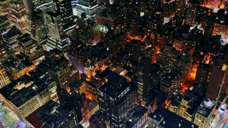 New York Skyscrapers Illuminated Modern Night Footage Famous Travel Tourism Manhattan Building City USA Drone Crowded Timelapse