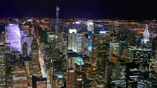 New York Cityscape Illuminated Skyscrapers Modern Night Footage Famous Travel Tourism Manhattan Building USA Crowded HD