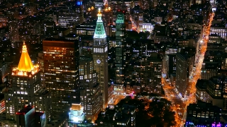 Aerial Drone Footage Illuminated Skyscrapers New York City Modern Night Famous Travel Tourism Manhattan Building Crowded USA