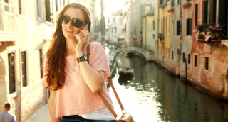 Travel Vacation Holiday Italy Pretty Woman Talking Cell Phone Venice