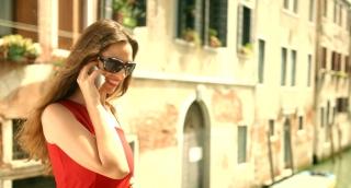 Fashion Tourist Woman Talking Cell Phone Vacation Italy Travel Joy