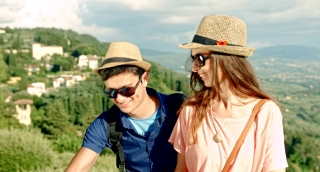Cute Young Tourist Couple Taking Selfie Nature Landscape Outdoors Europe