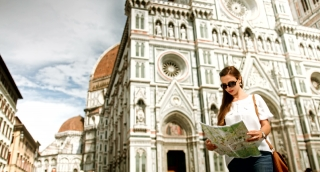Fashionable Young Female Model Looking for Directions Map Florence