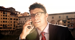 Young Businessman Travel Europe Talking Cellphone Smart Phone Technology