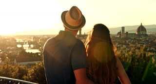 Romantic Young Couple Travel Tourism Romance Europe