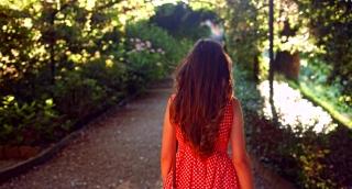 Paradise Concept Heaven Garden Young Woman Walking Sun