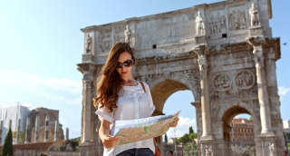 Visit Rome Vacation Young Woman Fashion Italy Tourist Map