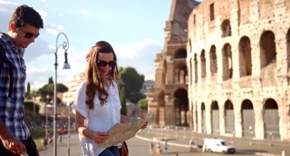 Romantic Vacation Rome Coliseum Love Couple Looking At Map