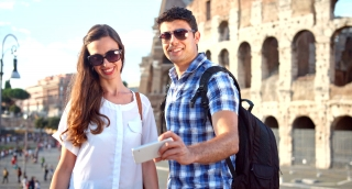 Happy Young Couple Posing Selfie Rome Coliseum