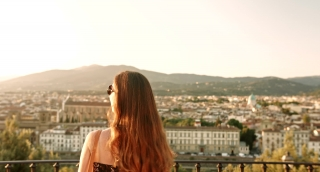 Attractive Young Woman Enjoying Vacation in Europe History Architecture Art