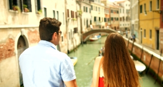 Pretty Couple Taking Selfie Italy Vacation