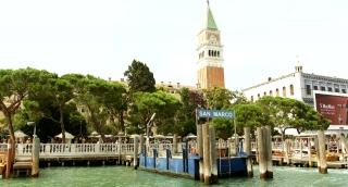 VENICE, ITALY - CIRCA 2014: View from water toward San Marco Pier.