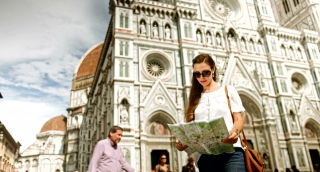 Pretty Fashionable Vintage Woman Holding Map Europe Art Vacation Architecture