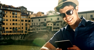 Young Tourist Businessman Working tablet Mobile Technology Wifi Future Concept