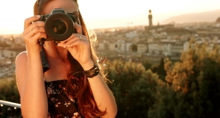 Beautiful Woman Taking Picture on Vacation Europe Sunset Colors