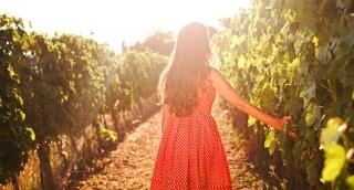 Summer Happiness Freedom Beauty Female Vintage Dress Walking Sunset