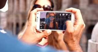 Young Tourists Man Taking Picture Smartphone Technology Beautiful Woman