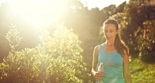 Active Lifestyle Woman Jogging Resting Taking Breath Sunset Nature Summer Run Jogger