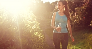 Young Jogger Resting Tired Drinking Water Beautiful Nature Sunset