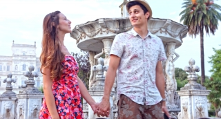Romantic Young Couple on Vacation in Europe Smiling Love Concept