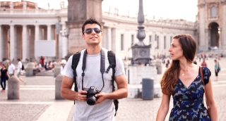 Cute Tourist Couple Taking Pictures Europe Italy Rome Smiling Vacation Trip
