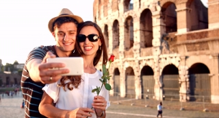 Attractive Young Romantic Couple Boy Girl Selfie Sunset Rome Coliseum