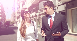 Attractive Young Business Team Man Woman Discussing Project Manager Employee Staff Urban Street Formal Wear Sunny Summer Day Professionals Uhd 4K