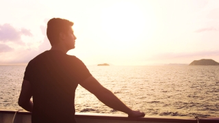 Young Man Contemplating Lonely Loneliness Sunset Sunrise Ocean Waves Future Uncertainty Spirituality Inspiration Tranquility Spiritual Search Symbolic Devotion Romantic Nature Orange Sun Glow Scenic S