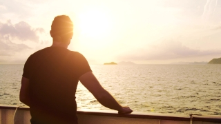 Human Condition Young Man Contemplating Spirituality Inspiration Sunset Sea Ocean Travel Ship Future Uncertainty Love Loneliness Lonely Youth Problems Depression Tranquility Uhd 4K