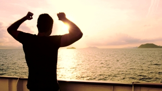 Young Man Travel Adventure Success Happy Joy Arms Outstretched Sun Sunset Ocean Ship Water Bright Future Concept Youth Optimism Victory Rejoicing Spirituality Inspiration Successful Cheerful Uhd 4K