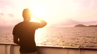 Young Man See Searching Salvation Land Island Ship Spiritual Inspirational God Sunset Orange Glow Flare Water Waves Life Allegory Nature Explorer Business Success Horizon Opportunity Search Distant La